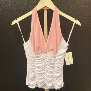 BRITTNEY white and coral ruched halter top